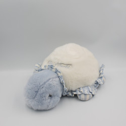 Doudou peluche tortue bleu blanc rayé TARTINE ET CHOCOLAT