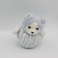 Doudou boule chat ours blanc rayé bleu TARTINE ET CHOCOLAT