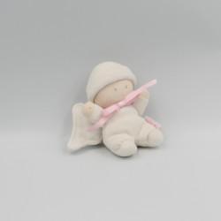 Mini Doudou attache tétine lutin ange blanc rose ailes COROLLE