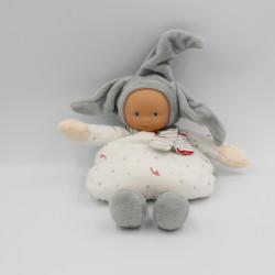 Doudou lutin bébé poupée gris blanc rouge étoiles COROLLE