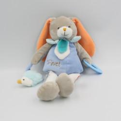 Doudou lapin gris bleu blanc orange Pom hérisson anneau BABY NAT