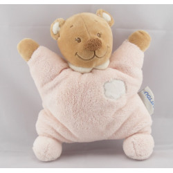 Doudou plat ours blanc rose nuage NATTOU