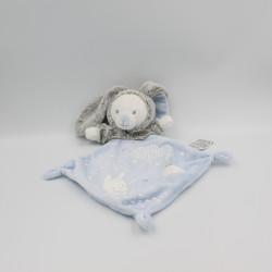 Doudou plat luminescent ours lapin gris bleu blanc étoiles MOTS D'ENFANTS