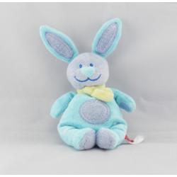 Doudou lapin bleu foulard jaune TEX BABY