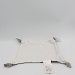 Doudou plat carré gris blanc VERTBAUDET