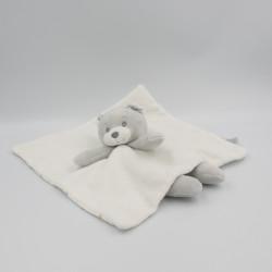 Doudou plat ours blanc gris bleu étoiles MATHILDE M