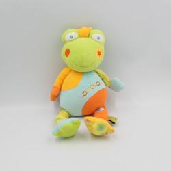 Doudou grenouille verte bleu orange Lomolos Babysun