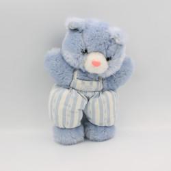 Doudou chat ours blanc rayé bleu TARTINE ET CHOCOLAT