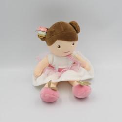 Doudou et compagnie poupée fille blanche rose Demoiselle Princesse Ombelline