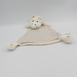 Doudou plat ane hippopotame blanc écru rayé beige H&M