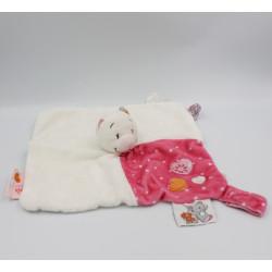 Doudou plat chat blanc orange rose fleurs Celia Iris et Babette NOUKIE'S
