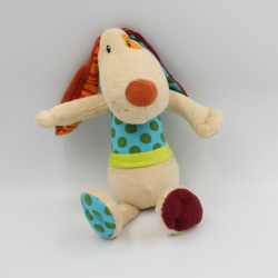 Doudou chien beige bordeaux bleu vert orange Jef LILLIPUTIENS
