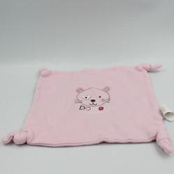 Doudou plat carré chat rose ABSORBA