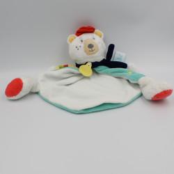 Doudou plat ours blanc bleu jaune Mr Paul BABY NAT