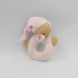 Doudou hochet anneau ours beige rose NATTOU