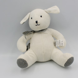 Doudou musical chien blanc carreaux beige bleu foulard DPAM