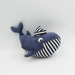 Doudou baleine bleu marine rayé CREATION DU ROCHER