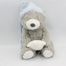Doudou peluche ours gris bonnet bleu ATMOSPHERA