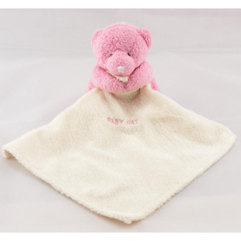 Doudou plat ours mouchoir rose Baby nat