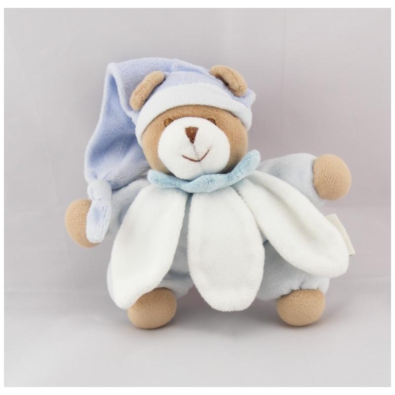 Doudou ourson fleur bleu et blanc Doudou et Compagnie