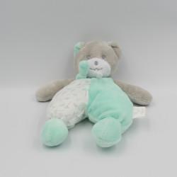 Doudou ours bleu vert blanc fleurs Musti MUSTELA