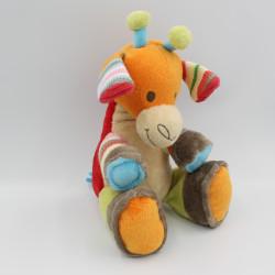 Doudou girafe rouge orange vert beige gris HAPPY HORSE
