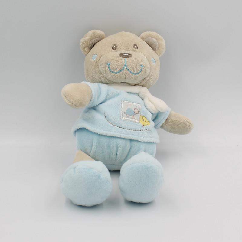 Doudou ours beige bleu blanc tortue TEX BABY
