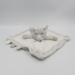 Doudou plat éléphant gris blanc OBAIBI