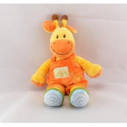 Doudou girafe jaune salopette orange Ma ptite tribu