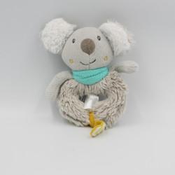Doudou hochet koala gris bleu jaune TIGEX