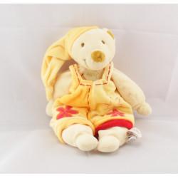 Doudou ours blanc salopette jaune fleur rouge BABY NAT