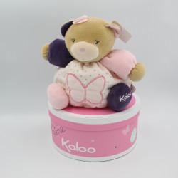 Doudou ours beige rose violet papillon Petite rose KALOO NEUF