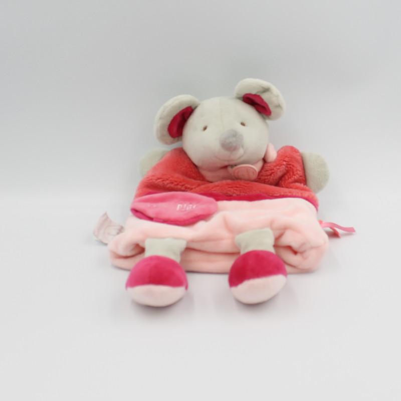 Doudou et compagnie marionnette souris grise rose rouge plic ploc
