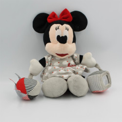 Doudou Minnie rouge gris balle cube DISNEY