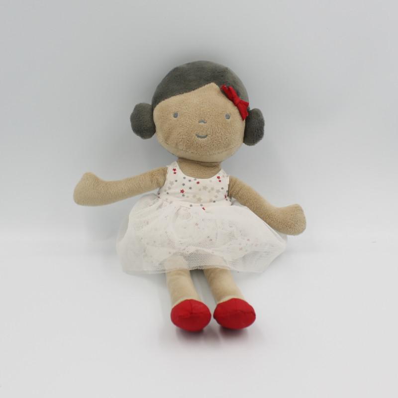 Doudou poupée fille métis robe blanche étoiles OBAIBI