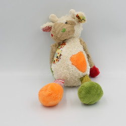 Doudou vache girafe blanc beige rouge vert orange