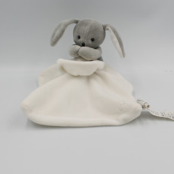 Doudou lapin gris blanc mouchoir JACADI
