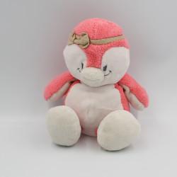 Doudou oiseau pingouin rose blanc beige Daisy et Coco NOUKIE'S