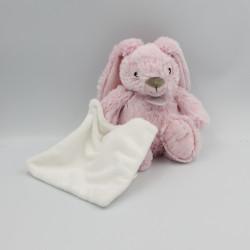 Doudou Lapin rose mouchoir blanc Guimauve Baby nat