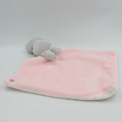 Doudou chouette hibou gris rose blanc pois mouchoir OBAIBI