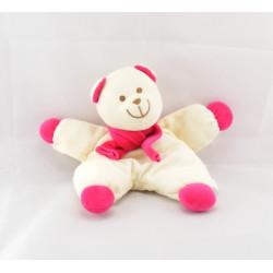 Doudou semi plat ours blanc rose AUCHAN