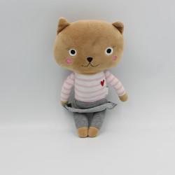 Doudou chat marron rose gris blanc MONOPRIX
