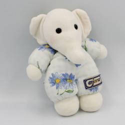 Doudou éléphant blanc bleu fleurs AJENA