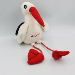 Peluche cigogne blanche rouge noir Alsace