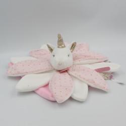 Doudou et compagnie plat licorne rose blanc or attrape rêve
