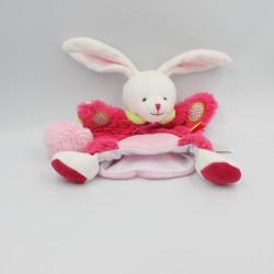Doudou et compagnie marionnette lapin rose blanc vert LOVELY