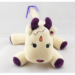 Doudou vache blanc violet nez en coeur MARESE