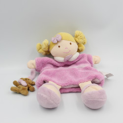 Doudou et compagnie marionnette poupée fille Melle rose avec ours