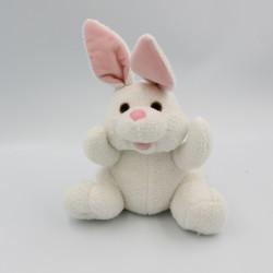 Doudou peluche lapin blanc rose PUBLICATIONS INTERNATIONAL 2007