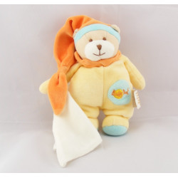 Doudou ours jaune bonnet orange avec mouchoir BABY NAT